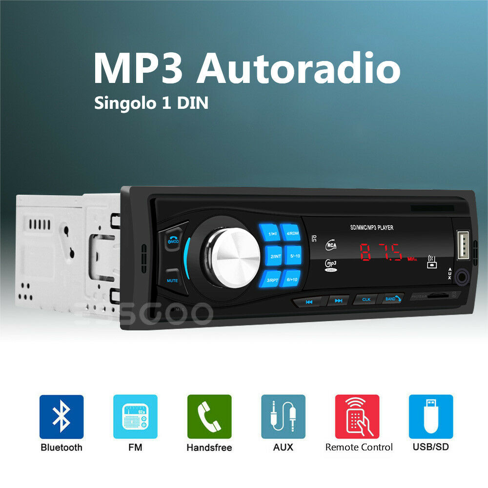 autoradio: 1 DIN Autoradio Bluetooth MP3 Lettore Stereo Player Auto USB TF Slot AUX IN FM