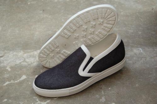 Stitched Fabric Rubber Sole White ManSneaker Calf Denim FJlTc1K3