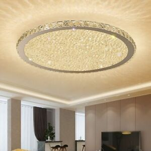 Details about Modern Crystal Chandeliers Lights Living Room Round LED Home  Decoration Lamp New