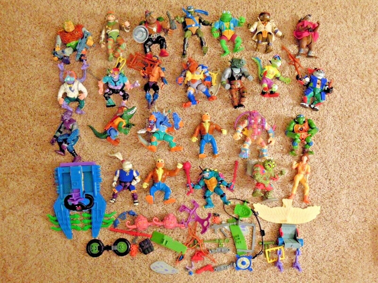 25 25 Original 1990s Ninja Turtle Characters Action Figures with Weapons & Vehicle