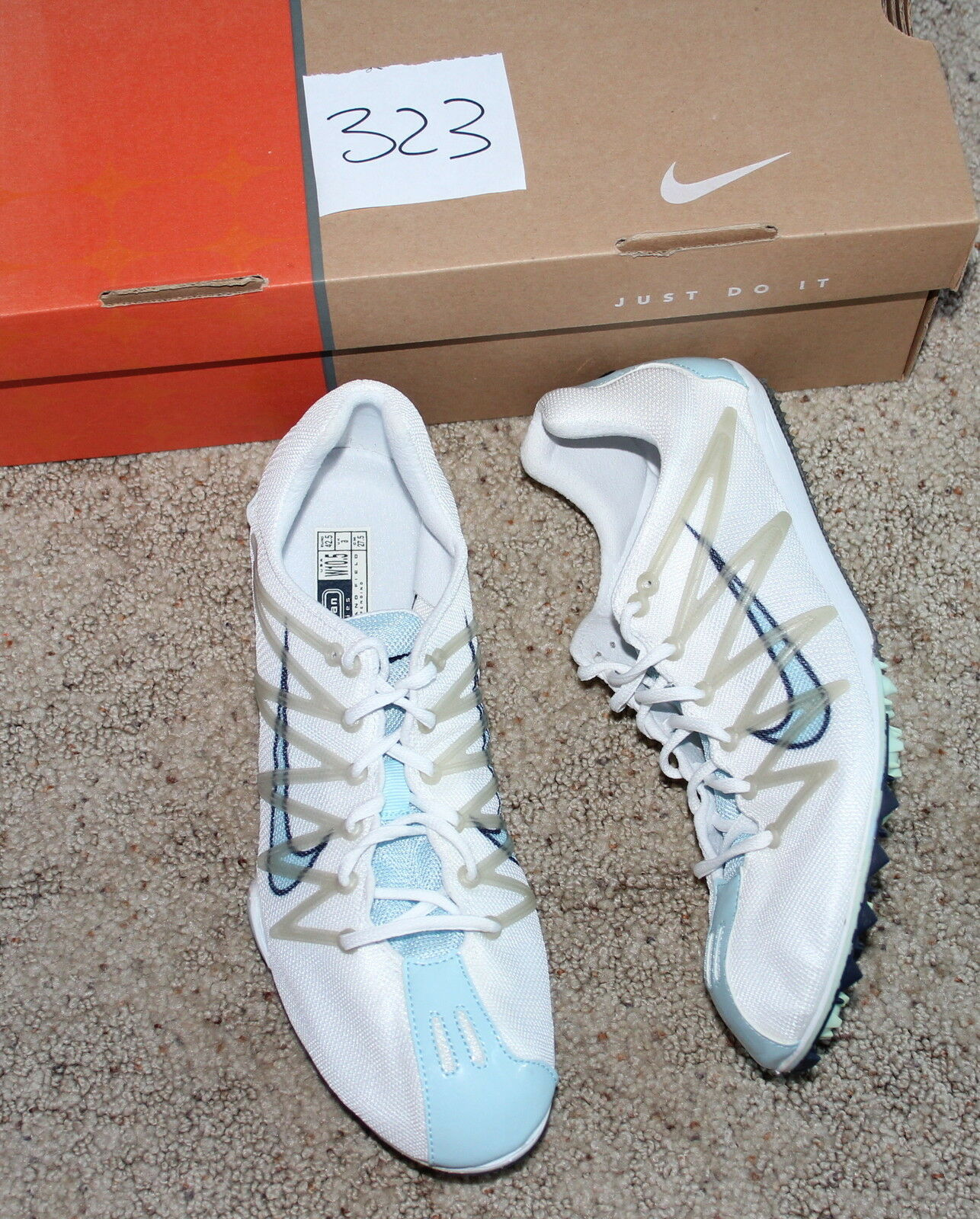 New ZOOM W track cross country spikes Womens running shoes white blue 10.5 42.5