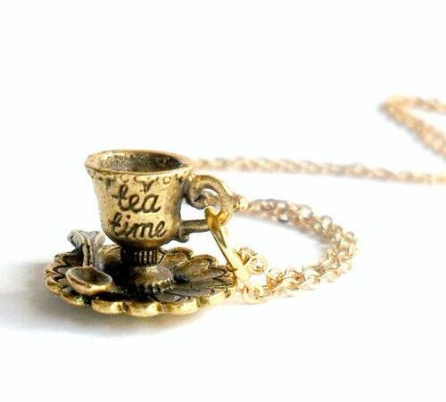 Tea Time Alice in Wonderland Necklace, Rose Gold Plated, Cute And Dainty :