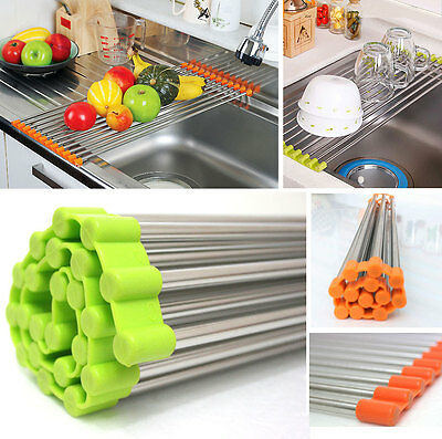 Sink Rack Roll /Stainless Steel Shelf Sink Rack /Portable Folding /Green,Orange