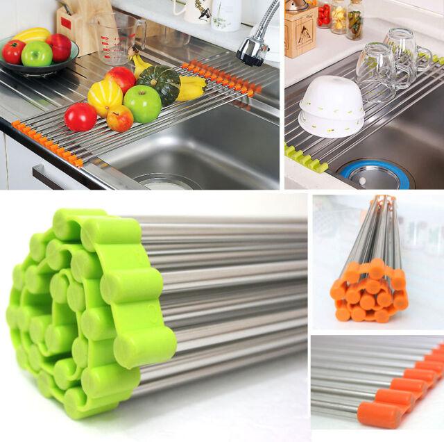 Sink Rack Roll /Stainless Steel Shelf Sink Rack /Portable Folding /Green,Orange