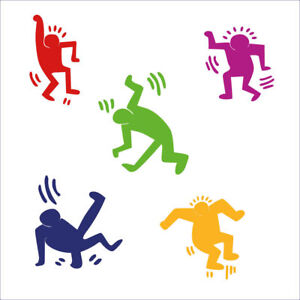 Adesivi Murali Keith Haring.Wall Sticker Stickers Adesivi 30 Omini Keith Haring Arte Decorativi A0088 Ebay