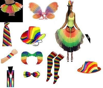 Unisex Rainbow Gay Pride Carnival Stag Hen Party Hat Tie Socks Headband Shorts