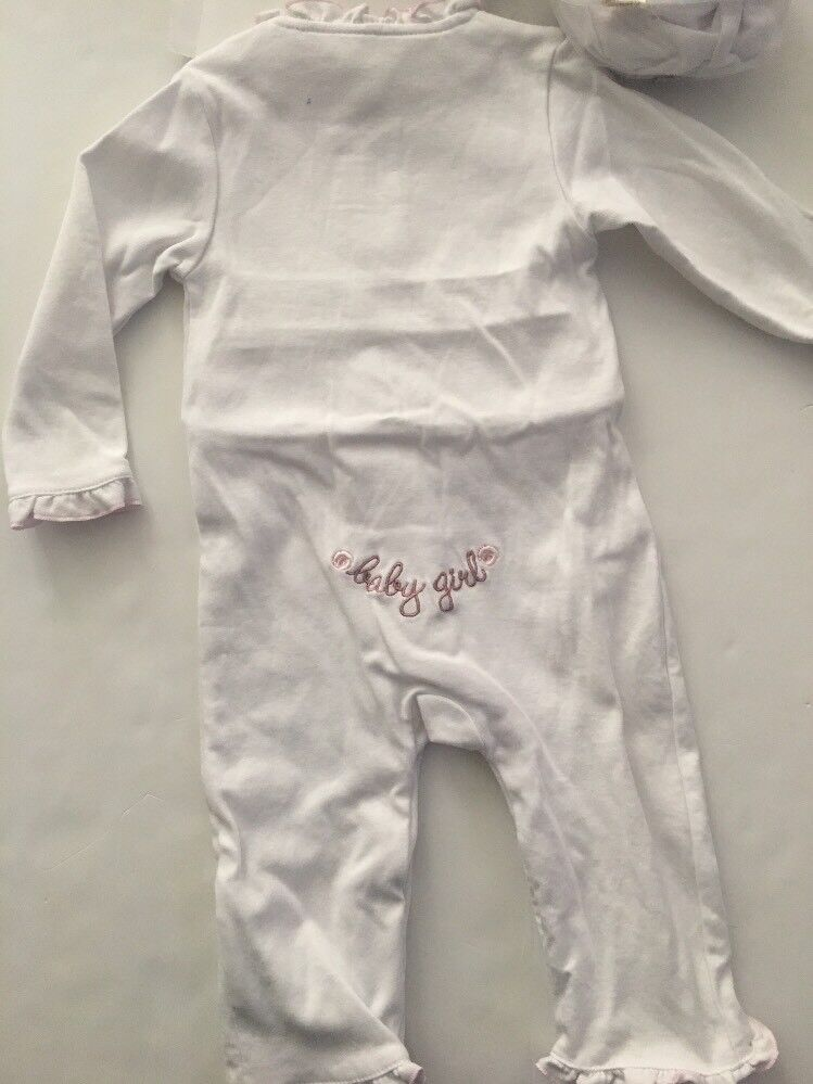 Wendy Bellissimo Baby Girl Coverall Hat Set Size 6-9 Months Pink White Floral