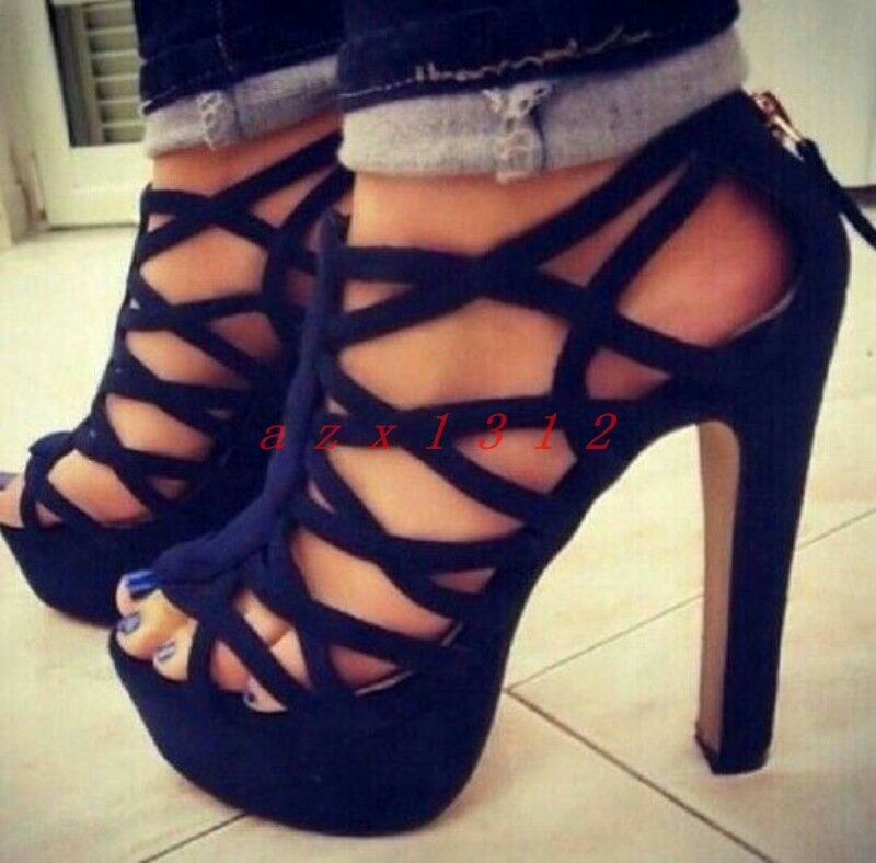 donna Peep Toe High Block Block Block Heel Hollow Zip Platform Roman Sandals scarpe Party New 4f3eb3