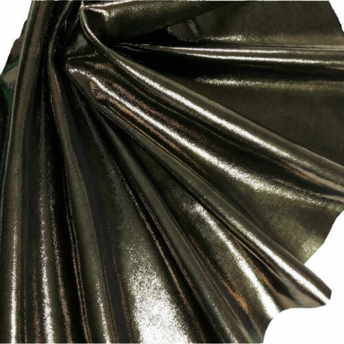 Kalbsleder Gold Schwarz Feine Pailletten Metallic Design Echt Rindsleder Haut