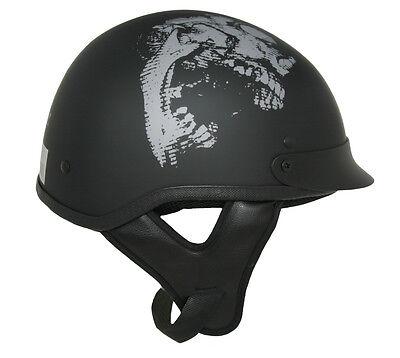Lunatic Shorty Helmet Matte Black w/ Skull - DOT - Adult Motorcycle Half Helmet