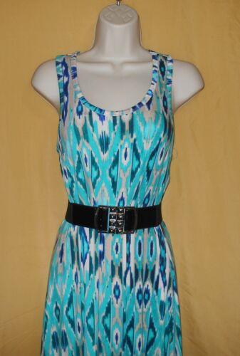 Cynthia Rowley women/'s multi aqua stretch beach long maxi racer back dress M $99