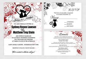 Cat Wedding Invitations Modern Valentine Bridal Shower Decoration