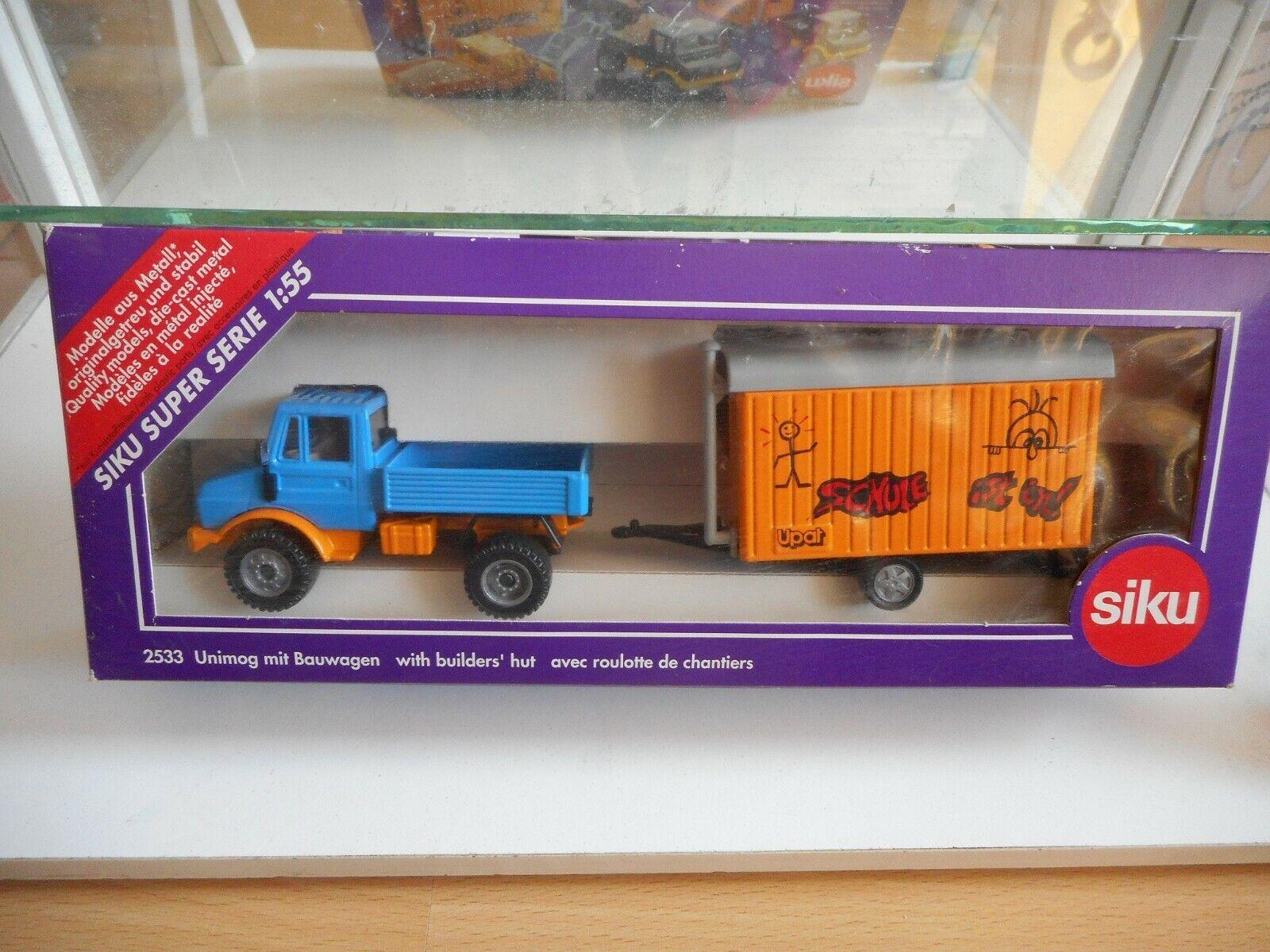 Siku Mercedes Unimog  UPAT   in bluee orange on 1 55 in Box  (Siku nr  2533)