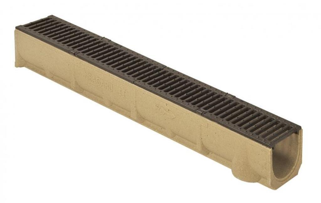 1 m MEAGARD II G Polymerbeton-Rinne mit Gußrost B 125  Entwässerungsrinne  Neu