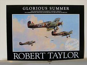 Lot-of-4-Robert-Taylor-Hawker-Hurricane-RAF-Aviation-Art-Advertising-Brochures