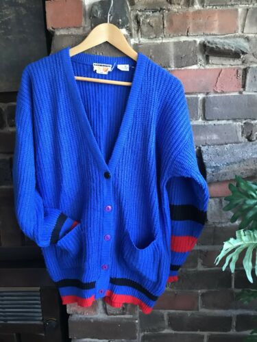 Knitted Cardigan 80s Size 14 M L Cosby Coogi Style 70s Vintage 90s Sweater