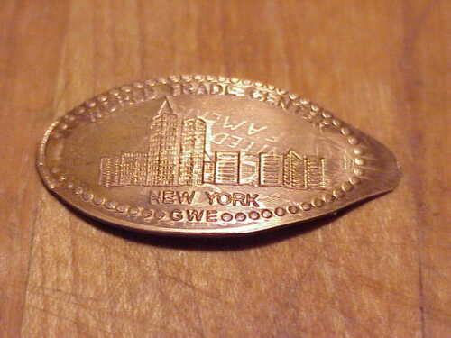 WORLD TRADE CENTER .NEW YORK .By.G.W.E ON OLDER  COPPER ELONGATED CENT #B1-222