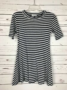 LUSH-Nordstrom-Boutique-Gray-Navy-Striped-Tunic-Top-Tee-Blouse-Women-039-s-M-Medium