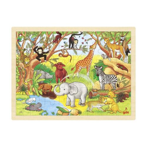 """# goki 57892 Einlege-Puzzle Holz /""""Afrika/"""" 48 Teile 40x30 cm NEU"""