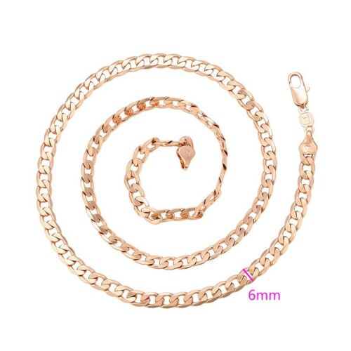 """1036 9ct 9K Rose /""""Gold Filled/"""" Men Ladies Curb Links All Sizes NECKLACE CHAIN"""