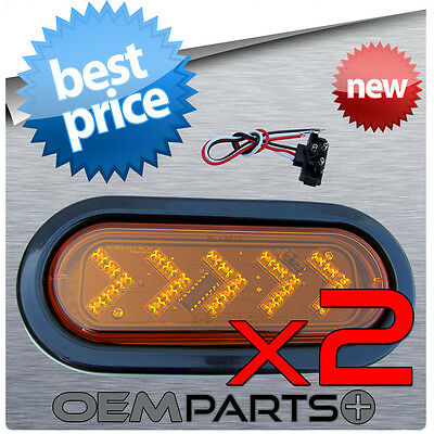 "2X LED 6"" AMBER OVAL TURN SIGNAL SURFACE MOUNT LIGHT SEALED TRUCK KIT TRAILER RV"