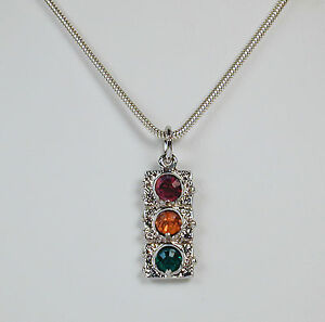 Sterling-Silver-Traffic-Light-Charm-Necklace-on-16-034-Snake-Chain-Free-U-S-Ship