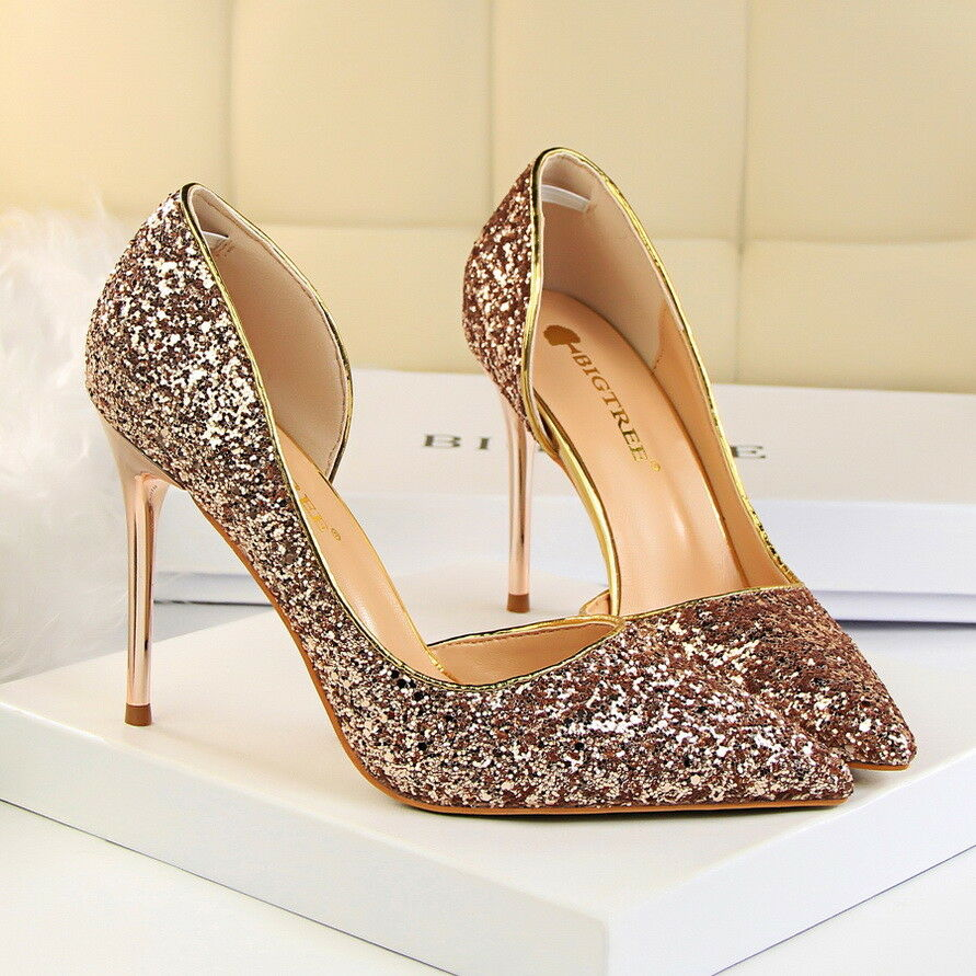 b40978462f Details about Women Fashion Pumps Glitter Sexy Stilettos High Heel Point  Toe Dress Party Shoes