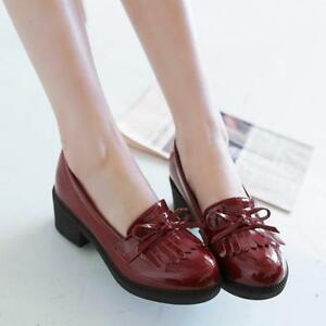 Women-039-s-Tassel-Oxfords-Pumps-Bowknot-Flats-Casual-Slip-On-Loafer-Leather-Shoes