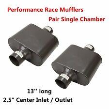 Pair Of Universal 25 Inlet Single Chamber Performance Race 2pc Muffler Exhaust