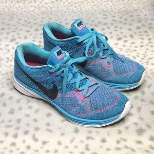 consola solidaridad Anémona de mar  Nike Flyknit Lunar 3 Correr Zapatillas para mujer Talla 8 Zapatos Rosa Azul  Gamma   eBay