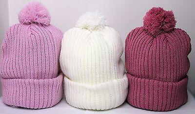 Ladies Girls Bobble Pom Pom Hat Hot Pink Chunky knit Very Warm New High Quality
