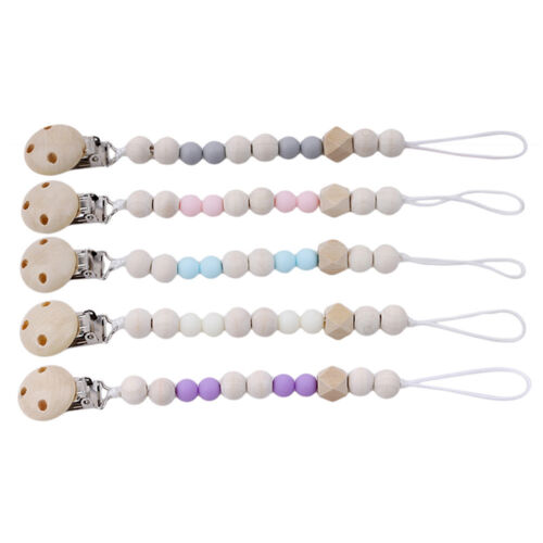 BPA Free Silicone Wooden Beads Nipple Dummy Holder Chain Pacifier Soother Clips