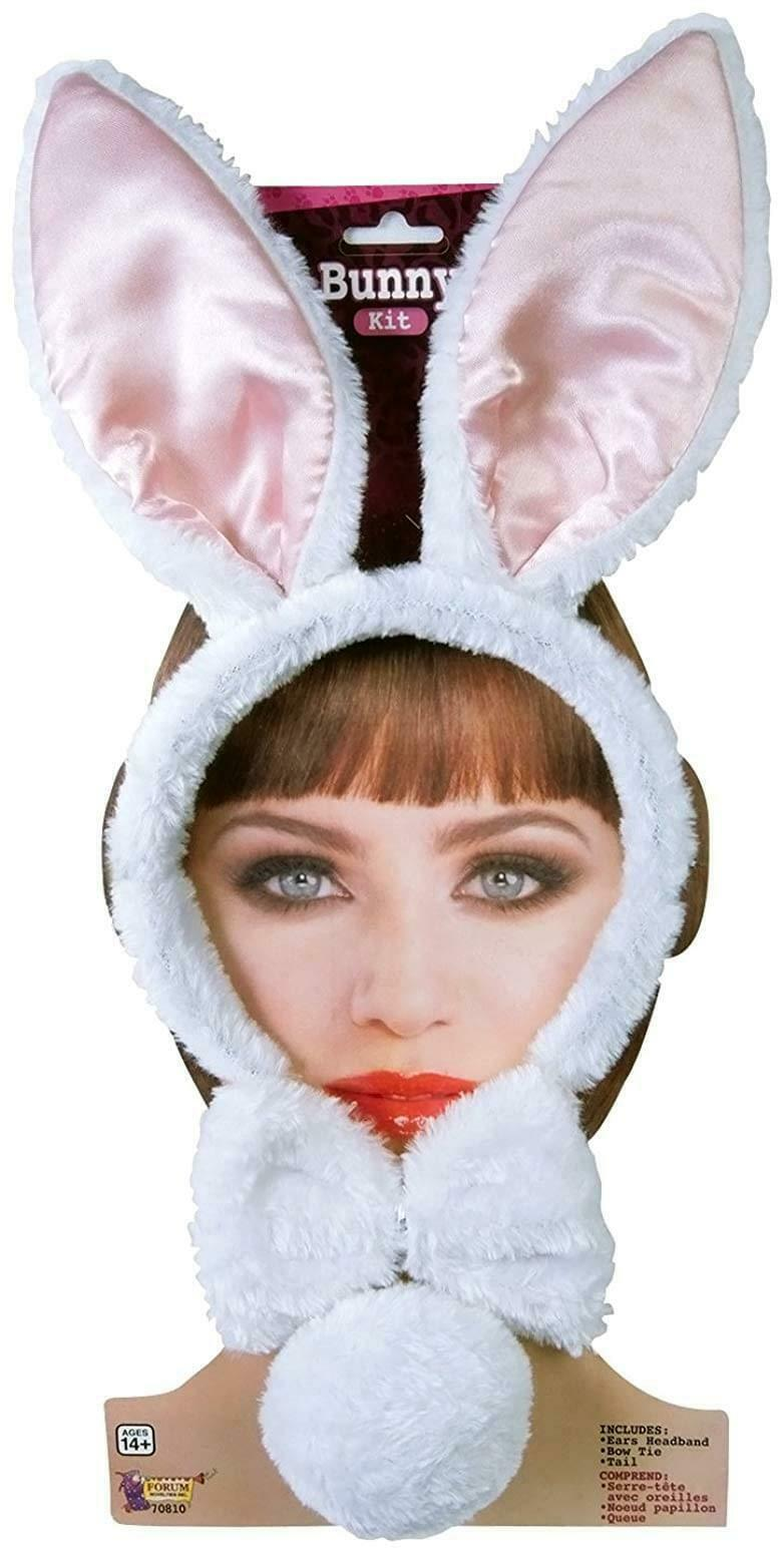 Animal Costume Accessory Kit Adult: White Bunny One Size