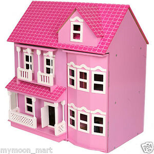 Brand New Victorian Pink Wooden Dolls Doll House w/ 40+ Furniture & 4 Dolls