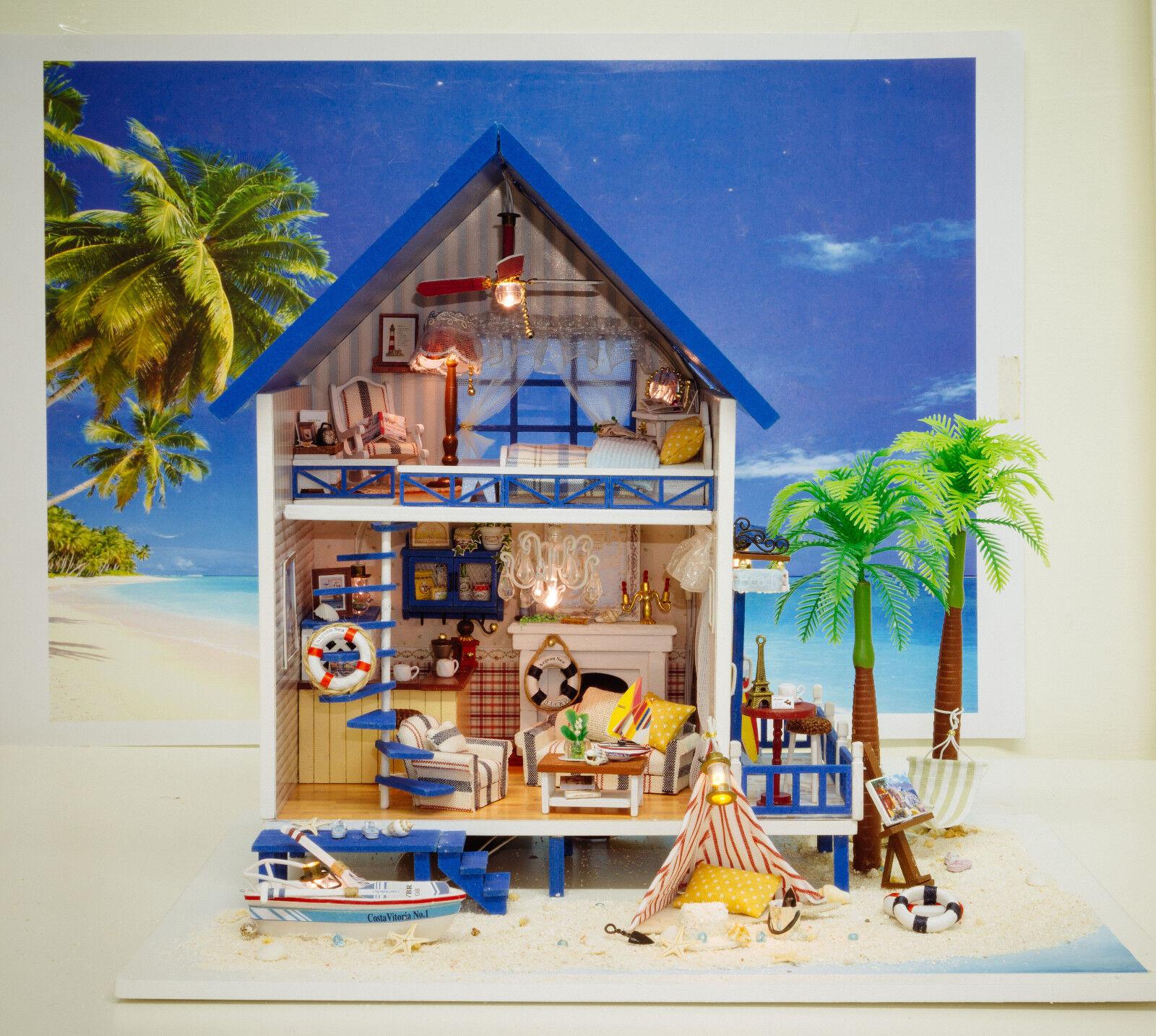 moda Casa de muñecas en miniatura (hágalo (hágalo (hágalo usted mismo Kit) - a-029, Creek Jugara Villa del Mar Egeo  forma única