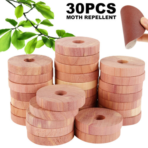 30Pcs Moth Balls Pest Repellent Aromatic Cedar Blocks for Cabinet Closet Storage