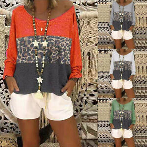 Women-Casual-Loose-Leopard-Print-Long-Sleeve-Tops-Blouse-Plus-Size-Tunic-Shirts