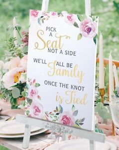 pick a seat not a side wedding seating sign family watercolour