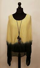 "New QUIRKY Italian LaGeNLooK ""DIP DYE"" Print Kaftan ""SIlK"" draped side Top 12-20"