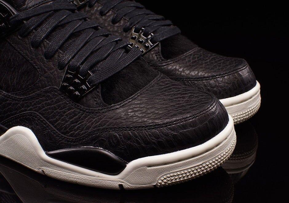 Authentic Nike Air Jordan Retro 4 Premium Pony Hair Black Pinnacle SZ 13