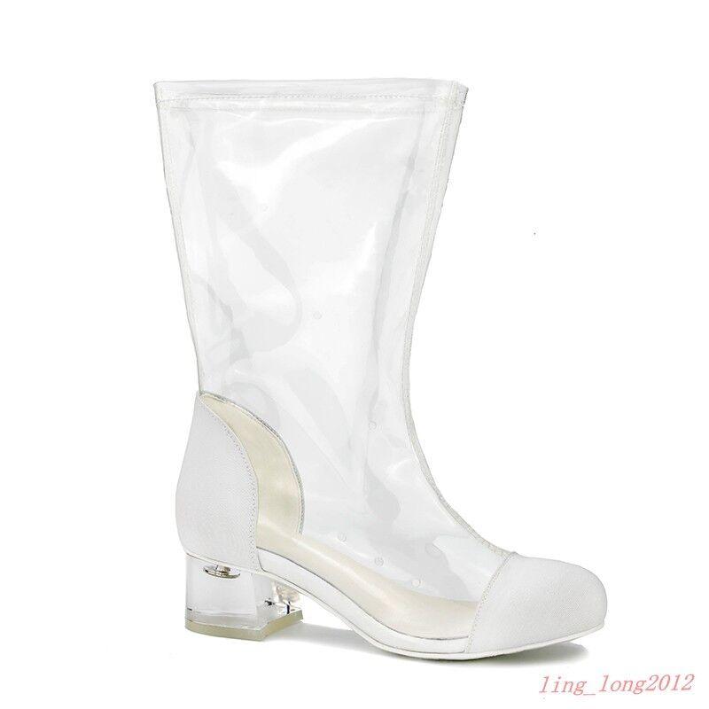 Rensa transparenta Rainstövlar kvinnor Zipper Round Toe Block Heel