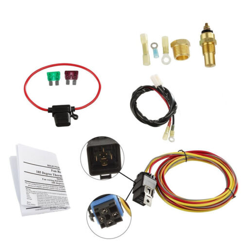 Car 165-185 Degree Thermostat Switch Single Electric Cooling Fan Wiring Harness
