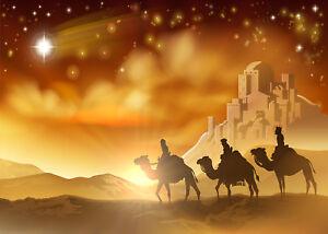 Vinyl 8x6.5ft Backdrop Jesusu Christ Theme Photography Background Nativity Birth of Jesus Twinkle Stars Desert Lord Pray Holy Lights Portraits for Children Baby Photo Studio