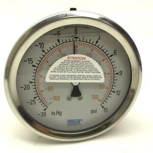 Wika-20-285302-1-1-Liquid-Filled-Vacuum-Gauge-30in-Hg-to-15psi-10cm-Diameter