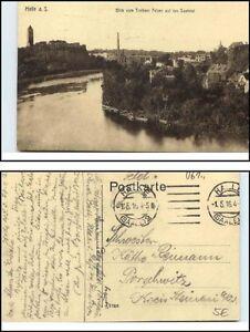 HALLE-1916-Feldpost-AK-1-Weltkrieg-gelaufen-Blick-Trothaer-Felsen-Saael-Tal