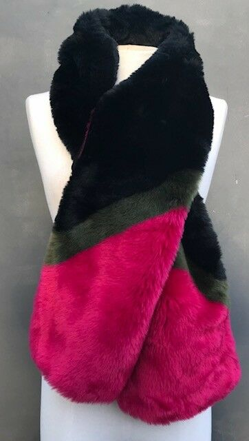 """ANN TAYLOR FAUX FUR PULL THROUGH AND HOOK BLACK/PINK/OLIVE STOLE-W8"""" X 60L"""""""
