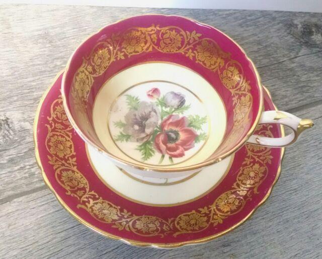 Vintage Paragon Tea Cup and Saucer Dark Pink Fuchsia A2108F