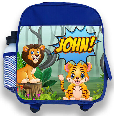Acquista A Buon Mercato Personalised Kids Backpack Any Name Safari Animals Boys Childrens School Bag 1