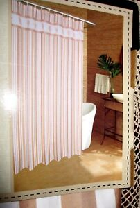Caribbean-Joe-COASTAL-Fabric-Shower-Curtain-Stripes-Nautical-Seashell-Border-NEW