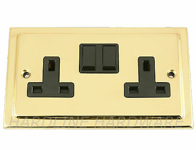 Varilight XV5DW Victorian Polished Brass 2 Gang Double 13A Switched Plug Socket